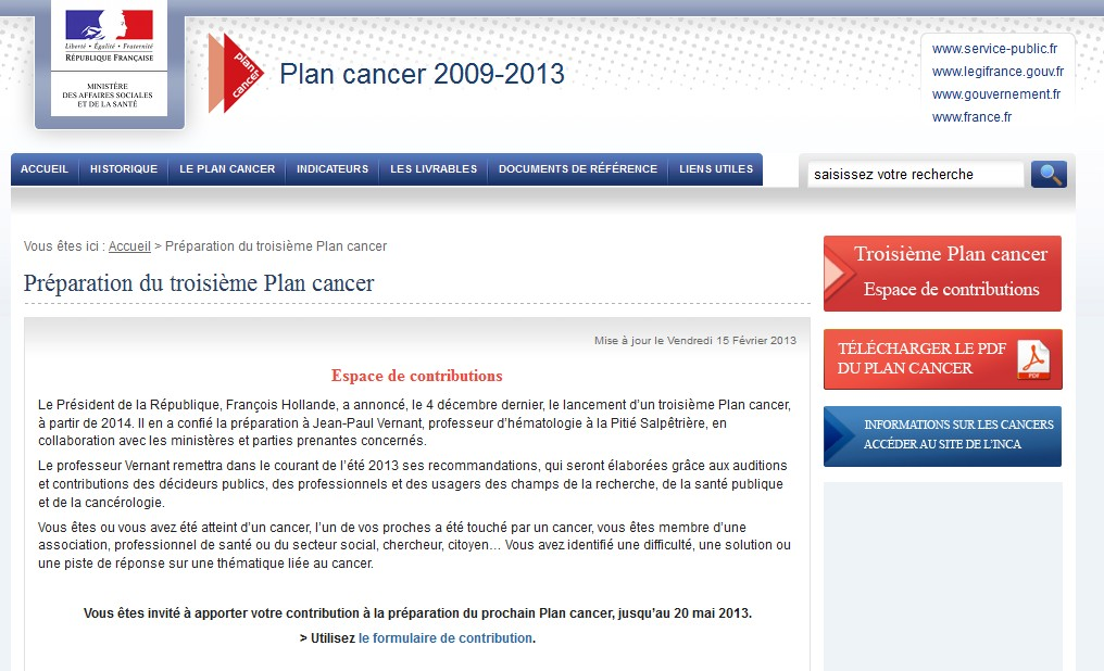 3me Plan cancer: ouverture dun espace de contributions en ligne