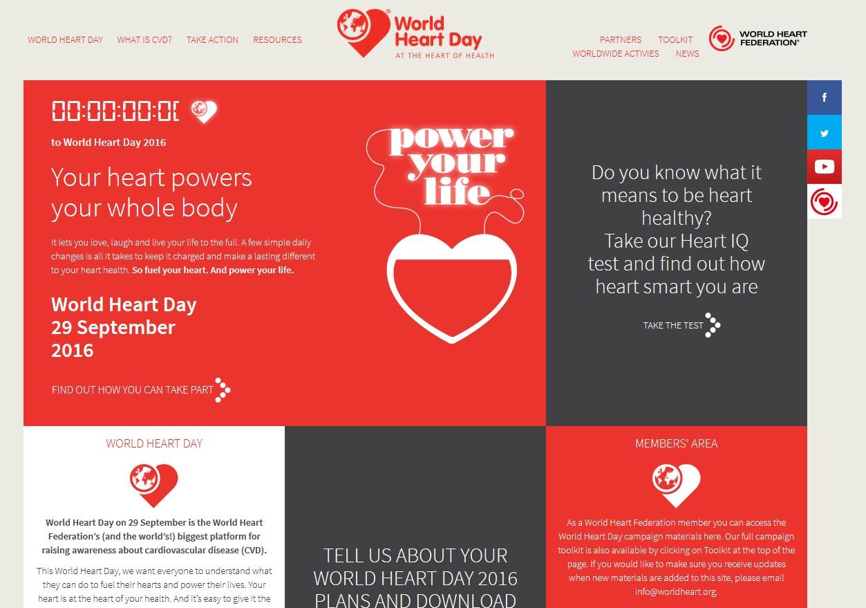 La Journée mondiale du cœur se déroule le 29 septembre 2016