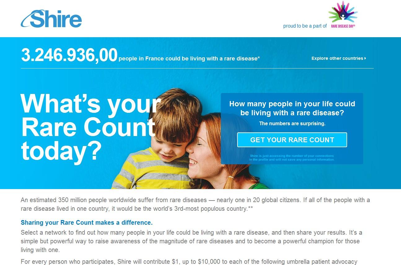Shire lance une campagne grand public pour « décompter les maladies rares »