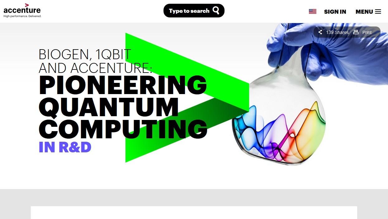 Informatique quantique : Accenture et 1QBit collaborent avec Biogen pour accélérer la découverte de médicaments