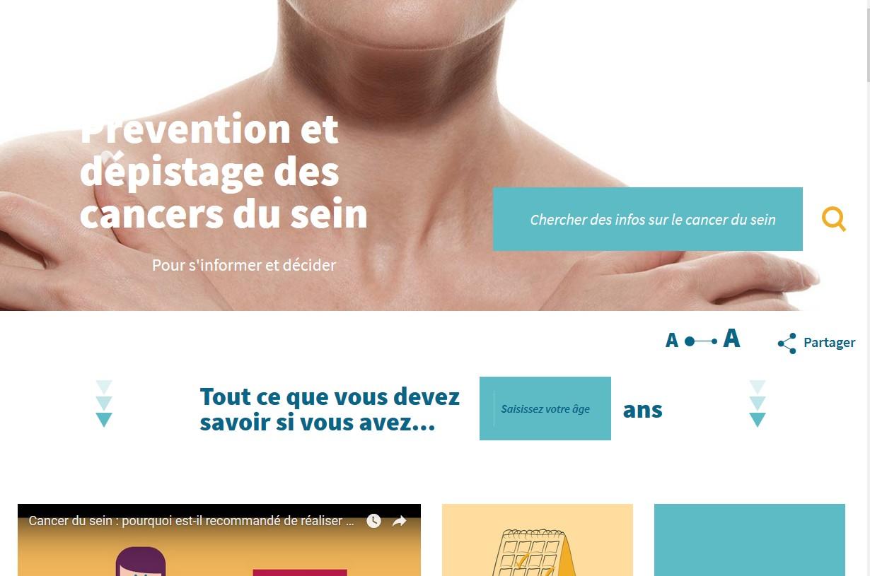 cancersdusein.e-cancer.fr : une information personnalisée par âge