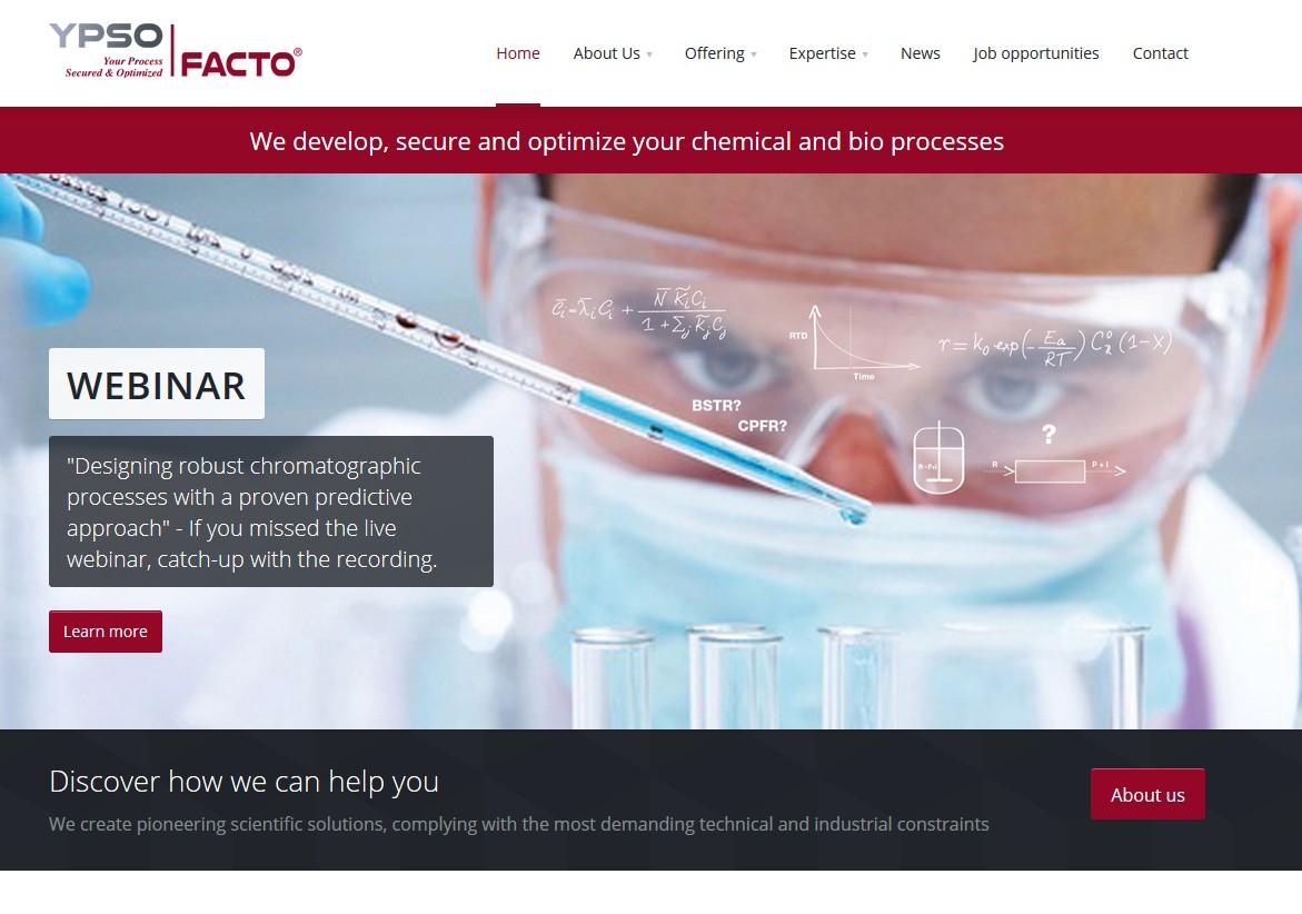 Ypso-Facto investit 1M€ pour développer des logiciels de conception de procédés chimiques et biotechnologiques